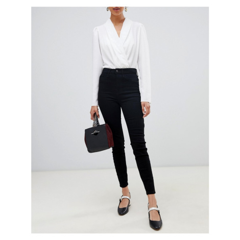 River Island Harper high rise skinny jeans in black