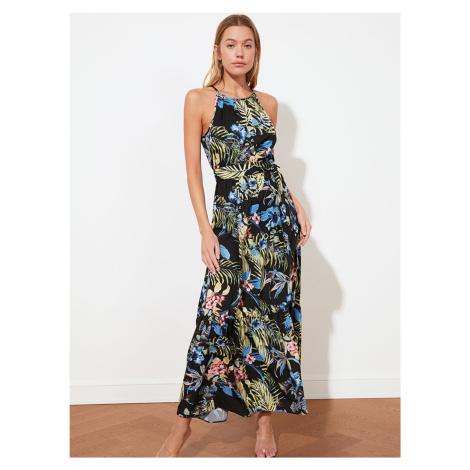 Trendyol černé květované maxi šaty