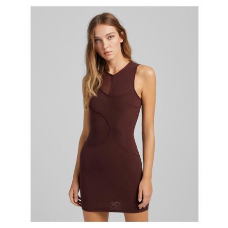 Bershka mesh bodycon dress in chocolate brown
