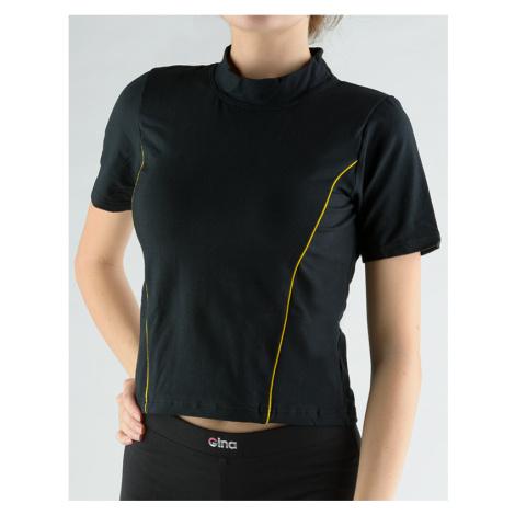 GINA Tričko se stojáčkem, krátkým rukávem, zdobení paspulemi 98005-MxCLxY Černá-citrónová