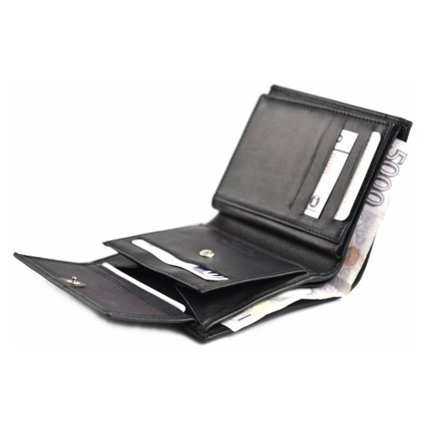 BRIGHT Pánská kožená peněženka Černá, 10 x 2 x 12 (KP00-P14774-09KUZ)