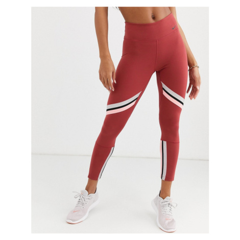 Nike Training crop leggings with gold sparkle trim in pink