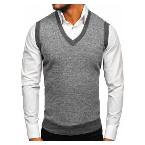 Šedý pánský svetr bez rukávů Bolf 8131