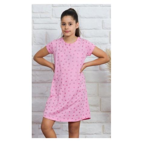 Dětská noční košile s krátkým rukávem Srdíčka, 13 - 14, růžová Vienetta Secret