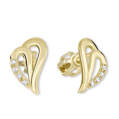 Brilio Zlaté náušnice srdce s krystaly 001