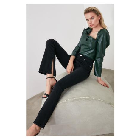 Trendyol Black Slit High Waist Flare Jeans