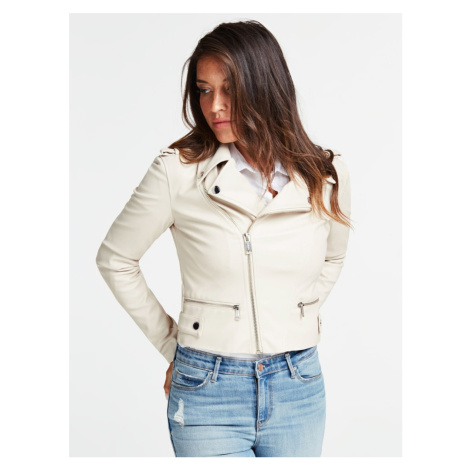 Guess dámská krémová koženková bunda