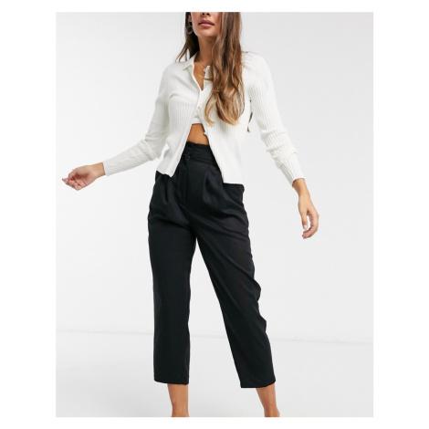 Monki Sadie tapered trousers in black