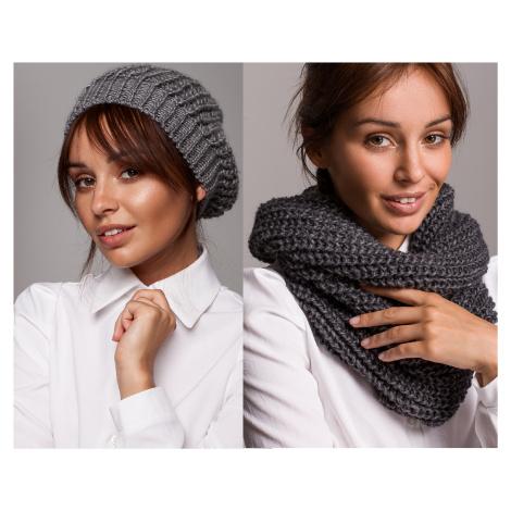 Zimní set Žebrovaná bareto čepice + šála chomout pletený na zimu