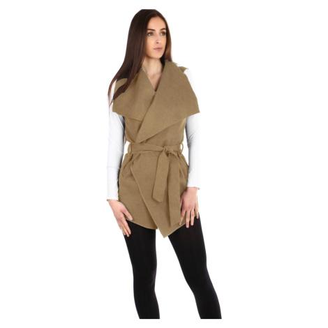 Dámská dlouhá vesta s páskem - široký límec