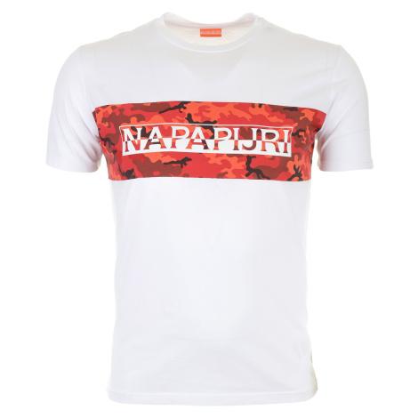 Pánské bílé tričko Napapijri s maskáčovým pruhem