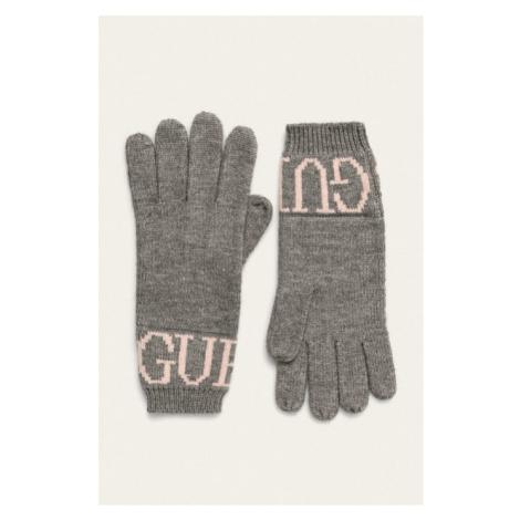 Guess dámské hnědé rukavice s nápisem