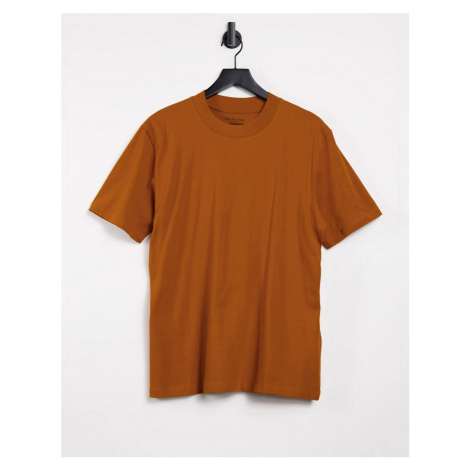 Selected Homme high neck t-shirt in orange
