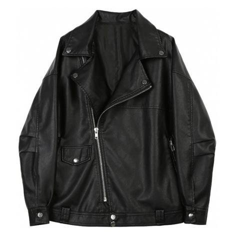 Kožená módní bunda s límcem, kapsami a asymetrickým zipem