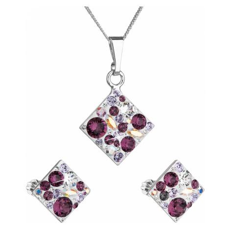 Sada šperků s krystaly Swarovski náušnice, řetízek a přívěsek fialový kosočtverec 39126.3 amethy Victum