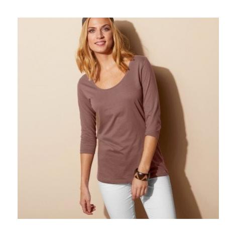 Blancheporte Jednobarevné tričko s 3/4 rukávy kaštanová