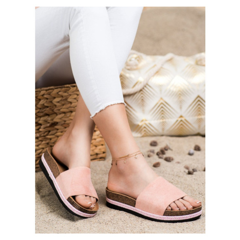 SHELOVET SUEDE FLIP-FLOPS ON THE PLATFORM