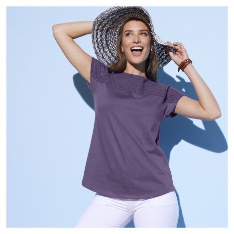 Blancheporte Tričko s anglickou výšivkou a krátkými rukávy fialovošedá