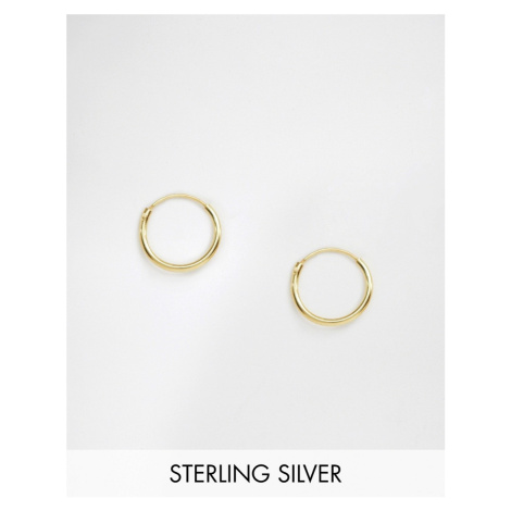 ASOS DESIGN sterling silver 12mm hoop earrings with 14k gold plating