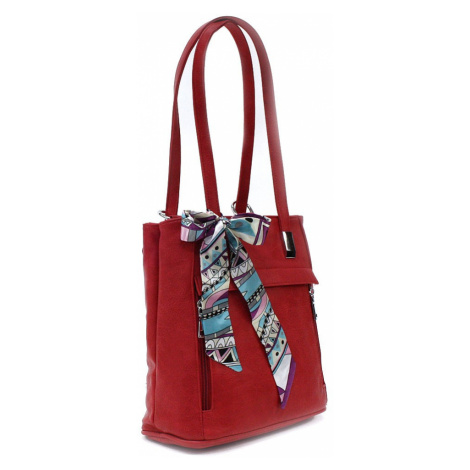 Červený stylový zipový dámský batoh/kabelka Leonelle Zormax (PL)