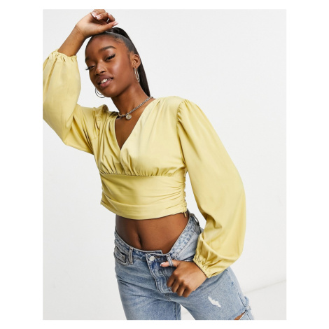 Pretty Lavish ruched waist volume sleeve matte satin blouse in ochre-Yellow