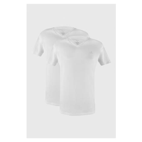 2 PACK bílých triček GANT Basic