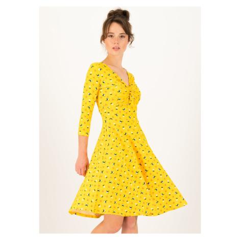 Udržitelné bavlněné šaty žluté Blutsgeschwister Třešňový piknik