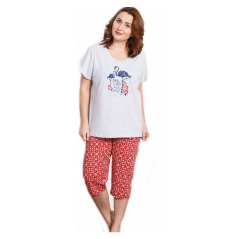 Dámské pyžamo kapri Vienetta Secret Plameňák | světle šedá