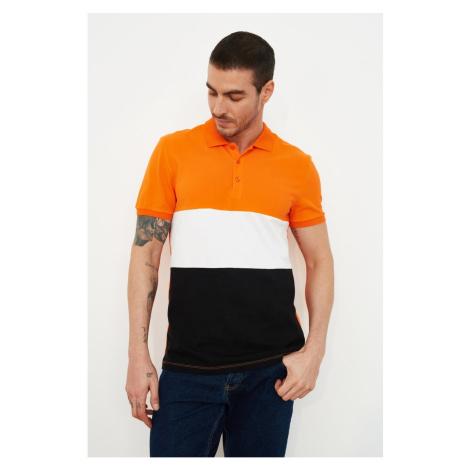 Trendyol Orange Men's Regular Fit Short Sleeves Color Block Polo Neck T-shirt