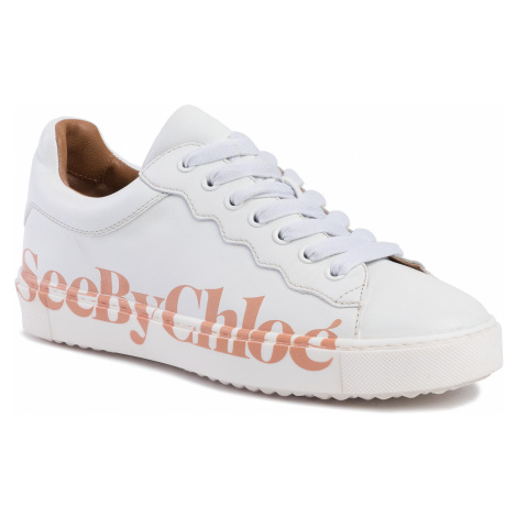 Sneakersy SEE BY CHLOÉ - SB33125A Bianco/Logo Pink 101