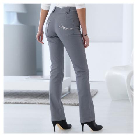 Blancheporte Rovné kalhoty s vysokým stahujícím pasem šedá