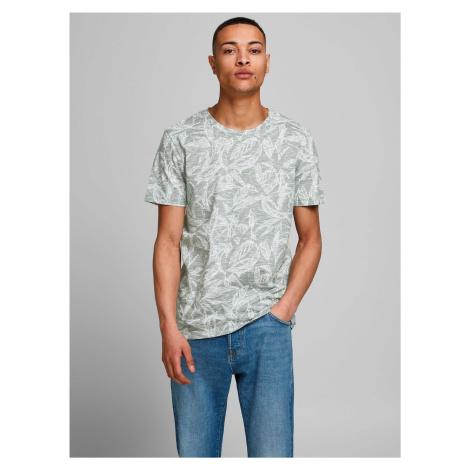 Zeleno-šedé vzorované tričko Jack & Jones Lefo