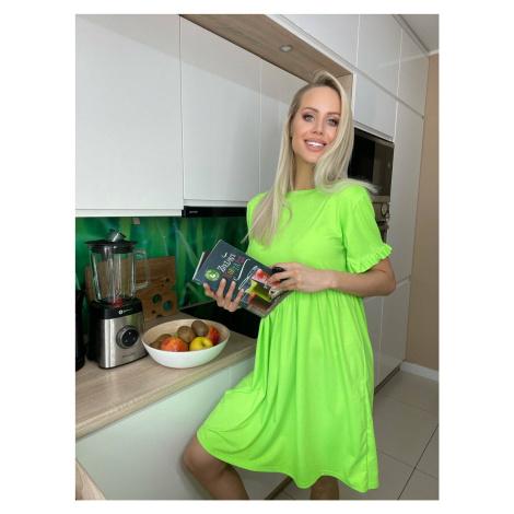 Volné zelené šaty s krátkými rukávy (697ART) jedna Made in Italy
