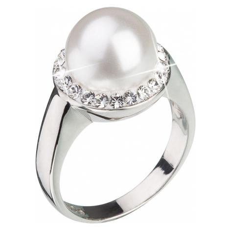 Stříbrný prsten s krystaly Swarovski a bílou perlou 35021.1 Victum
