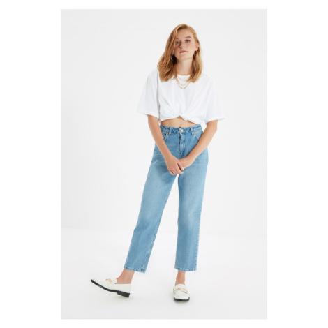 Trendyol Blue Iron-On High Waist Straight Jeans