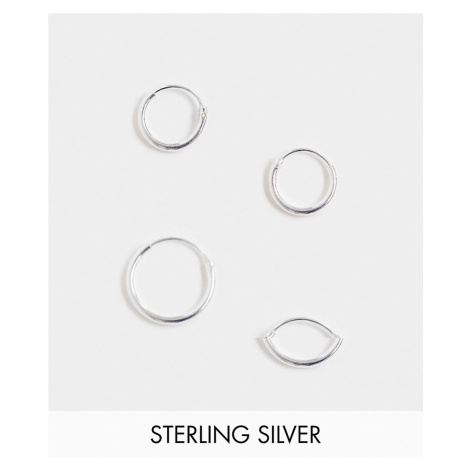 ASOS DESIGN sterling silver 12mm and 9mm hoop earring pack in silver