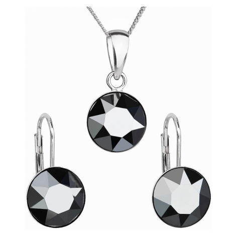 Sada šperků s krystaly Swarovski náušnice, řetízek a přívěsek černé kulaté 39140.5 hematite Victum