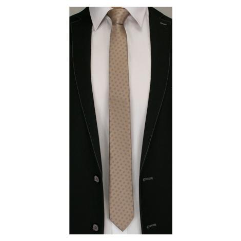Buďchlap Hnědá kravata se šedými puntíky