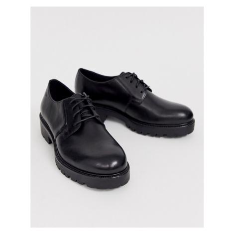 Vagabond Kenova black leather lace up chunky flat shoes