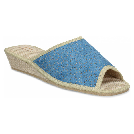 Modré dámské domácí pantofle Baťa