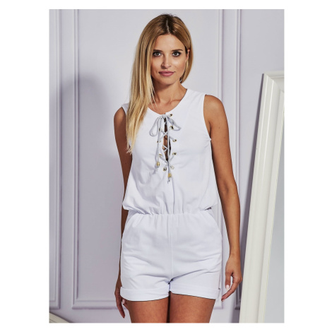 White jumpsuit with lacing Fashionhunters
