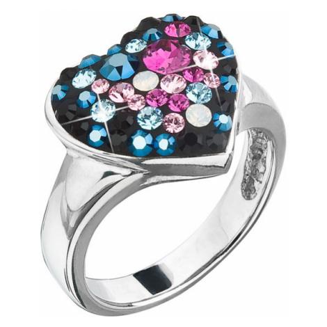 Stříbrný prsten s krystaly Swarovski mix barev srdce 35044.4 galaxy Victum