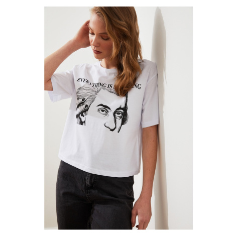 Trendyol White Mozart Printed Licensed T-Shirt