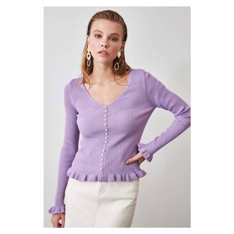 Trendyol Lila Pearl Detailed Knitwear Sweater