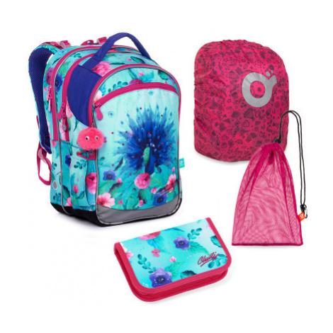 Velký školní set Topgal COCO_20003_G batoh + penál + pytlík na přezůvky + pláštěnka