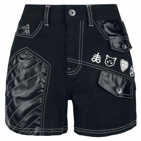 Gothicana by EMP Schwarze Shorts mit weißen Nähten und Patches Dámské šortky černá