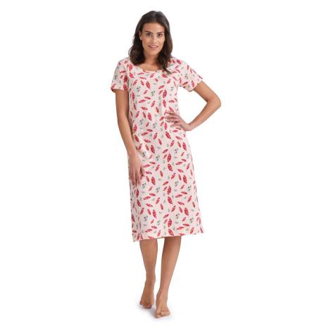 Blancheporte Bavlněná noční košile s potiskem a krátkými rukávy růžová