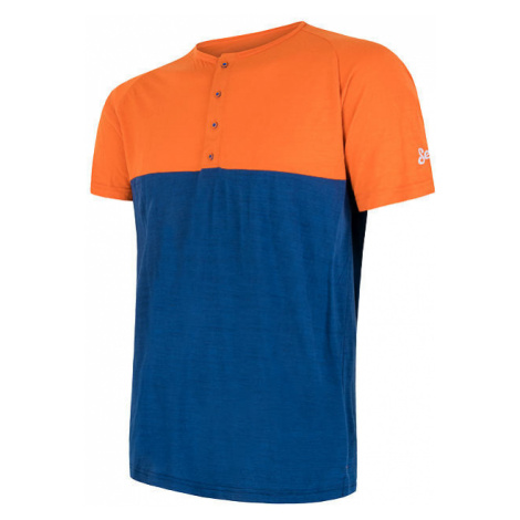 Pánské tričko s knoflíky SENSOR Merino Air PT oranžová/modrá
