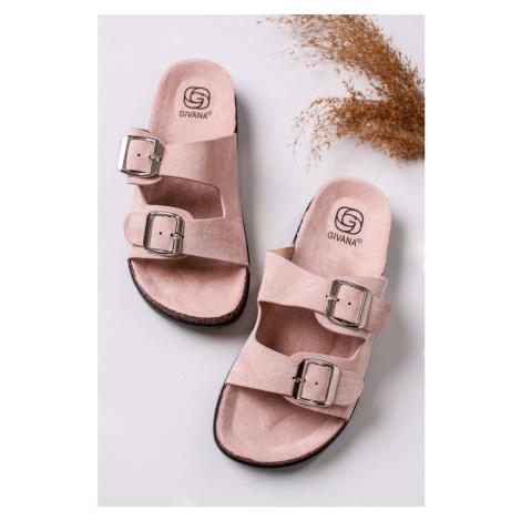 Světle růžové semišové nízké pantofle Lalia Givana