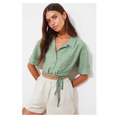Trendyol Mint Lacing Detailed Shirt